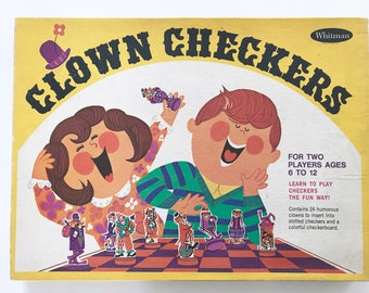 Vintage Children's Board Game Clown Checkers Complete Set Whitman Publishing 1968 1960s