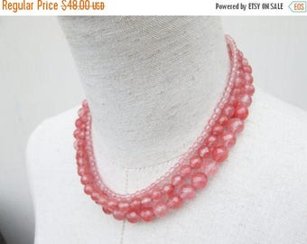 XMAS in JULY SALE Cherry Quartz Triple Strand Beaded Necklace, Salmon Pink Coral Beads
