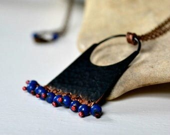 ON SALE Bohemian necklace, hammered copper pendant necklace with lapis lazuli beads - Marrakesh