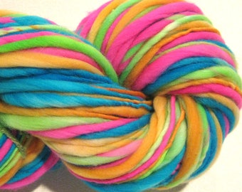 Bulky Handspun Yarn Electric Easter Egg 116 yards hand dyed merino  pink green blue orange  doll hair knitting supplies crochet supplies