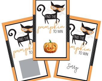 Set of 12 Scratch Off Game Cards for Baby Showers with Halloween Black Cat and Orange Pumpkin SCH011