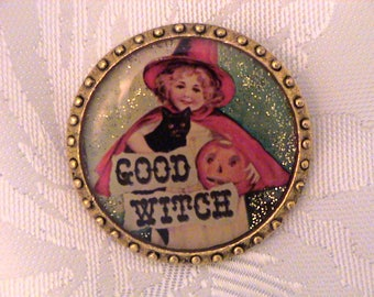 "Vintage MAXIMAL ART John Wind ""Good Witch"" Halloween Brooch"