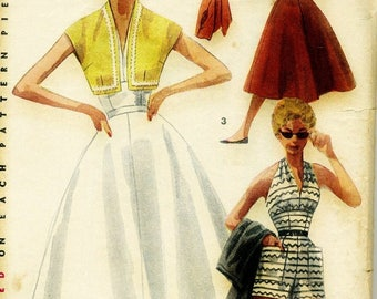 ChristmasinJuly Vintage 1950s Simplicity 4748 Misses Halter Top, Shorts, Full Skirt and Bolero Jacket  Sewing Pattern Size 14 Bust 32