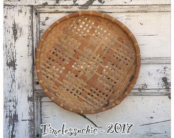 Vintage Wall Basket - Vintage Flat Basket - Flat Basket - Large Woven Basket - Decorative Basket - Large Wall Basket - Basket Tray - Baske