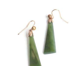 Nephrite Jade Dangle Earrings for Pierced Ears Ear Wires Vintage