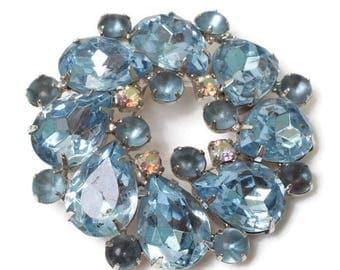 Blue Rhinestone Juliana D & E Round Brooch Bridal Wedding Special Occasion