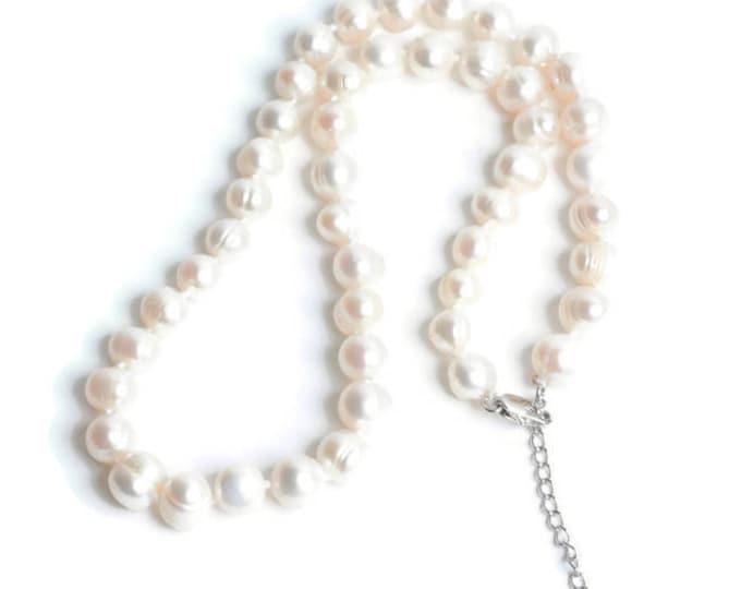 Freshwater Pearl Choker Necklace Heart Dangle Vintage