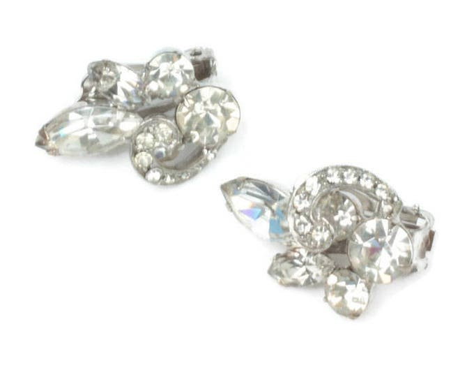 Ribbon Overlay Rhinestone Earrings Clip On Bridal Wedding Vintage