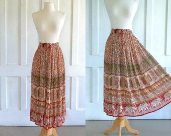 90s Gauze Skirt Sheer Indian Maxi Skirt Elephant Print Midi Skirt Hippie Boho Festival Skirt
