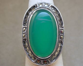 Sterling Chrysoprase Ring with Marcasites