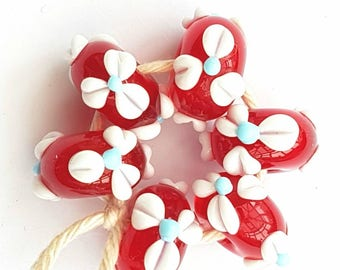 Red Flowered  Lampwork Glass Beads