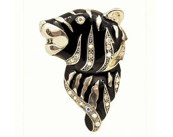 1970s Silver Tone Black Enameled and Aurora Borealis Rhinestone Tiger Vintage Pin Brooch