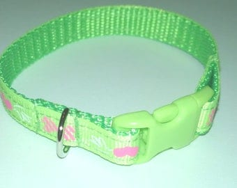 Lime Green Pink Hearts & Bow tie Dog Collar Style Bracelet