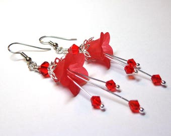 Red Lily Earrings, Swarovski Crystal Earrings, Silver Jewelry, Spiritcatdesigns, Silver Earrings, flower Dangle