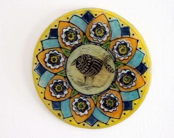 Mandala Wall Hanging- Suncatcher Wall Art Panel Aqua Teal Lime Flower Fused Glass Mandala Wall Art