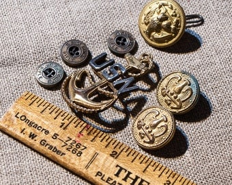 Vintage Military Buttons with A Navy Pin