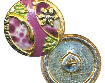 OH BOY SALE Button--Early 20th C. Spatter Celluloid in Painted Brass Floral
