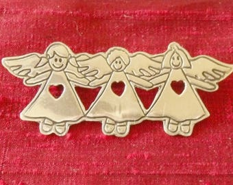 Sterling Three Angels Choir Brooch, 925 Mexico Valentine Heart Pin