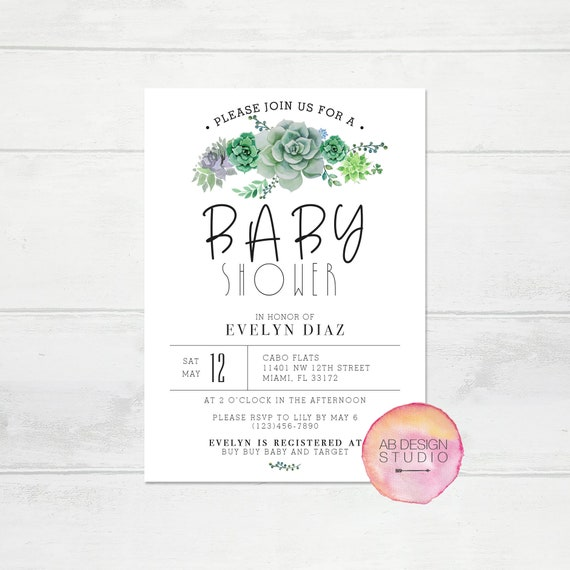 Succulent baby shower invite simple baby shower invitation il570xn filmwisefo