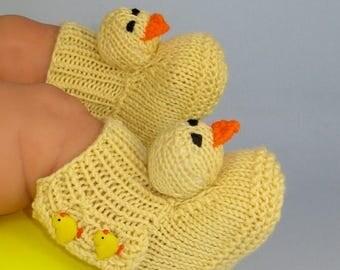 40% OFF SALE Digital pdf file Knitting Pattern -Baby Chick Booties (Boots) knitting pattern- MADMONKEYKNITS