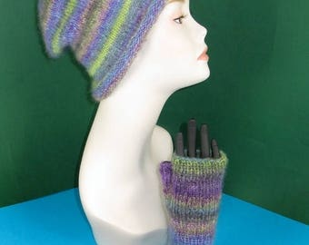40% OFF SALE Instant Digital File pdf download Knitting Pattern -  Mohair Slouch Hat & Fingerless Gloves pdf download knitting pattern