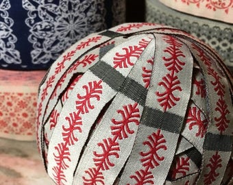 Christmas Sale Vintage Jacquard Sewing Trim RED Gray Narrow Ribbon by the yard