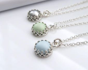 Pearl Dot Necklace - sterling silver, bridemaids gift,