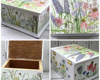 Painted Flowers Nature Box Keepsake Painted Furnishing