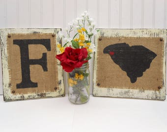 Burlap rustic home decor and wedding signs, state and mongram combo, South Carolina or your state with letter of your choice