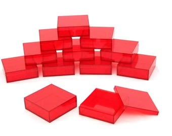 2 By 2 Inch Square Red Acrylic Bead/Gem Storage Boxes 12 QTY