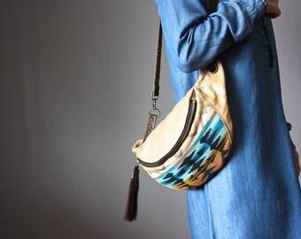 Leather belt bag, wool leather fanny pack, bohemian bag, hippie chic bag, leather crossbody, leather hip bag, waist bag, hands free bag