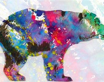 BEAR art print art abstract art texture nature art childern room wall decor illustration painting