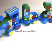 AVERY Custom FIVE LETTER Name Train Any Style or Design with Engine and Caboose, Hand Painted for you by Vibrant Trains
