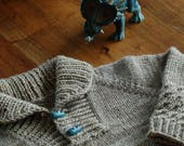 Boy Sweater PDF knitting pattern / Fiche tricot pullover col châle