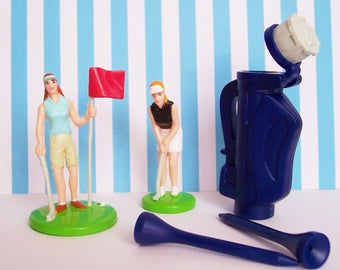 "Lady Golfer Cake Topper Set , Ladies are 2 3/4""h NOS Bakery Crafts"