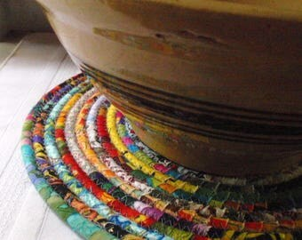 Bohemian Coiled Multicolored Mat, Chair Pad, Hot Pad, Trivet - 12 Inch Round - Handmade by Me