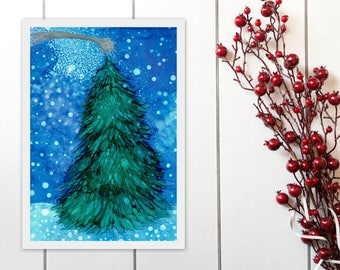 Starry Night Christmas Tree Printable Art, Alcohol Ink Painting Print, Christmas Decor Wall Art Instant Download, A4 8x11 9x12 print