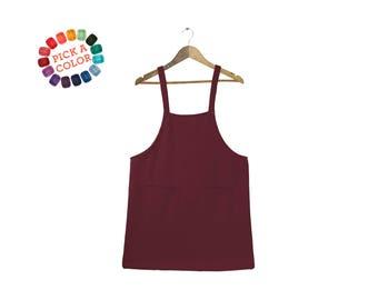 Retro Jumper Dress - Overalls Dress, Square Neck Jumper, Pinafore Jumper Dress, Retro Romper Dress in Maroon or Custom Pick-A-Color - S-5XL