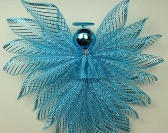 Blue Deco Mesh Angel-LARGE