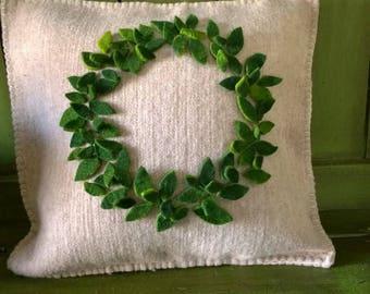 Wool wreath pillow