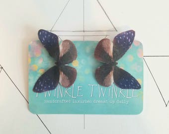1 Pair Starry Skies Blue Silk Butterfly Hairclips