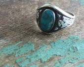 Vintage Bell Trading Post Sterling Silver Turquoise Thunder Bird Ring Size 7.5