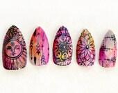 Boho Sunshine Stiletto Nails- Press On Nails- Stiletto Fake Nails- Acrylic Nail- Boho Hippie Free Spirit, Tie Dye Nail, Fake Nail