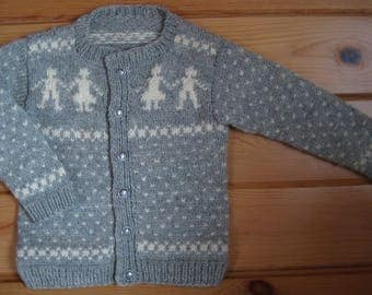 Hand Knit Cardigan Sweater Gray Heather Merino Scandinavian Design To Fit 3-4 Year Old Free US Shipping!