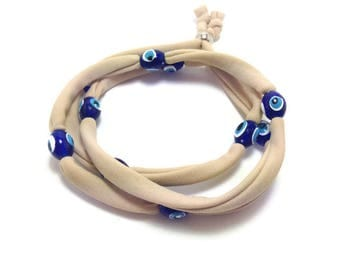 Beige Evil eye lucky string wrap bracelet - Friendship bracelet