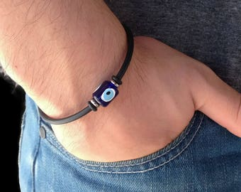 Greek evil eye bracelet - rubber - Stainless steel - protection - Greek jewelry - Gift For her or for him - Made in Greece
