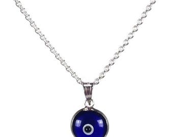 Evil eye necklace - Dark Blue eye - 925 sterling silver - protection - Greek jewelry