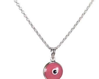 Evil eye necklace - Pink eye - 925 sterling silver - protection - Greek jewelry
