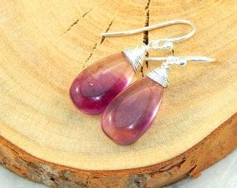 Purple Flourite Earrings,Flourite Earrings,Wire Wrapped Purple Flourite Earrings,Sterling Silver,Gemstone Earrings