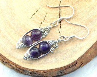 Amethyst Earrings, Pea Pod Earrings, Two Peas In A Pod Earrings, Wire Wrapped Earrings, February Birthstone